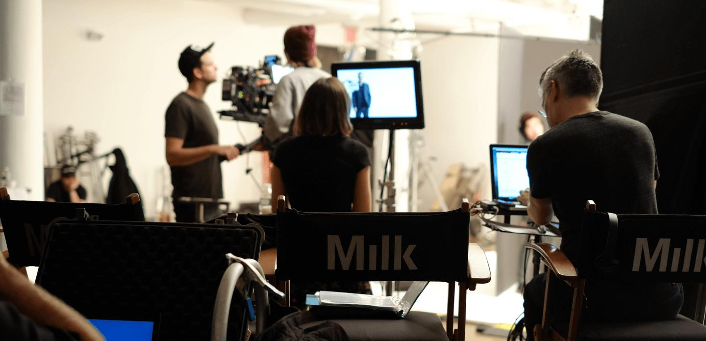 Milk Studios set while filming HomeToGo's TV campaign starring Chris Noth